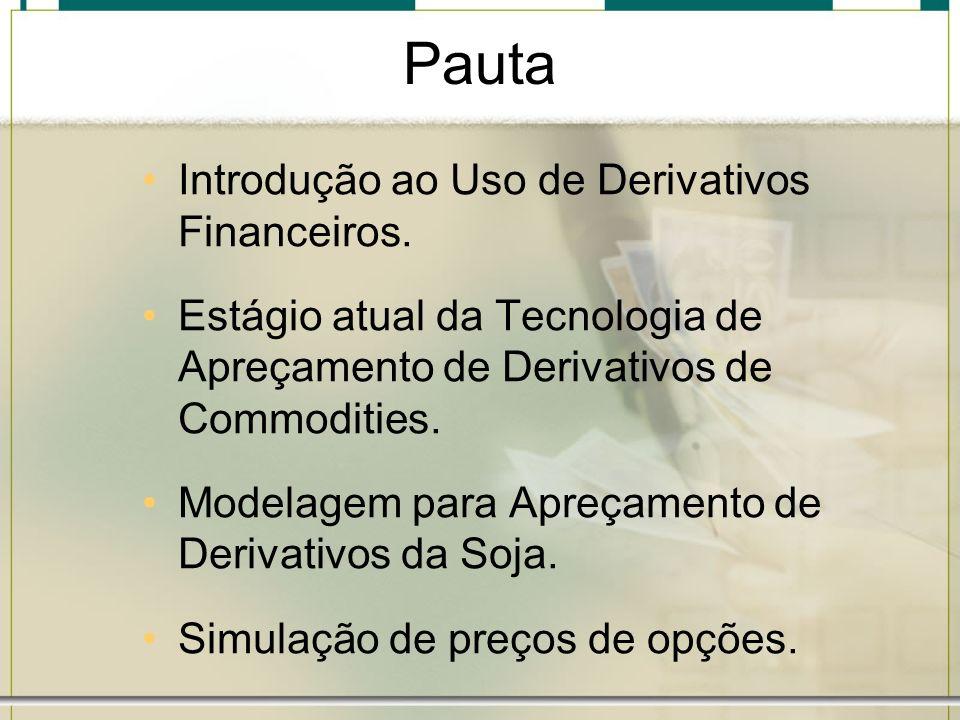 Pauta Introdução ao Uso de Derivativos Financeiros. Estágio atual da Tecnologia de Apreçamento de Derivativos de Commodities. Modelagem para Apreçamen