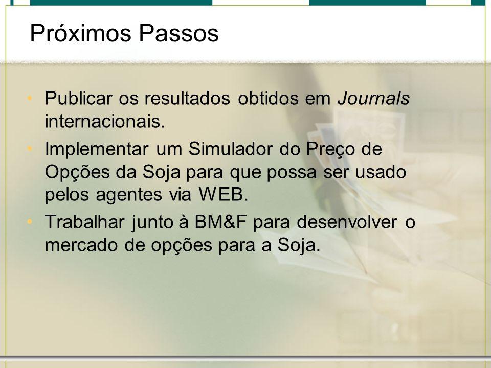 Próximos Passos Publicar os resultados obtidos em Journals internacionais. Implementar um Simulador do Preço de Opções da Soja para que possa ser usad