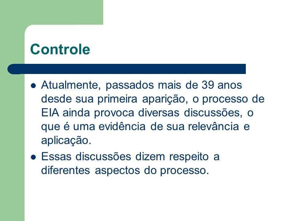 Controle Atualmente, passados mais de 39 anos desde sua primeira aparição, o processo de EIA ainda provoca diversas discussões, o que é uma evidência de sua relevância e aplicação.