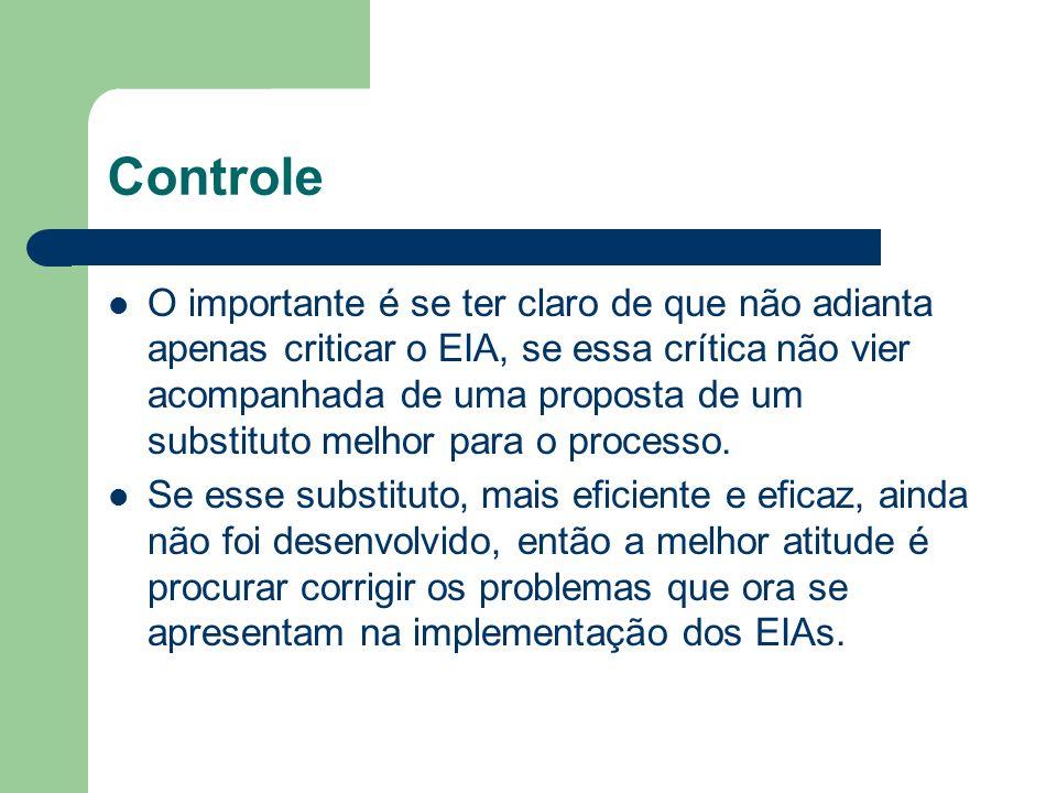 Controle O importante é se ter claro de que não adianta apenas criticar o EIA, se essa crítica não vier acompanhada de uma proposta de um substituto melhor para o processo.