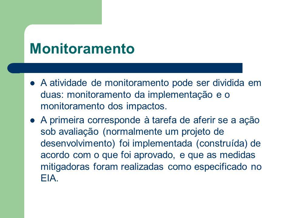 Monitoramento A atividade de monitoramento pode ser dividida em duas: monitoramento da implementação e o monitoramento dos impactos.
