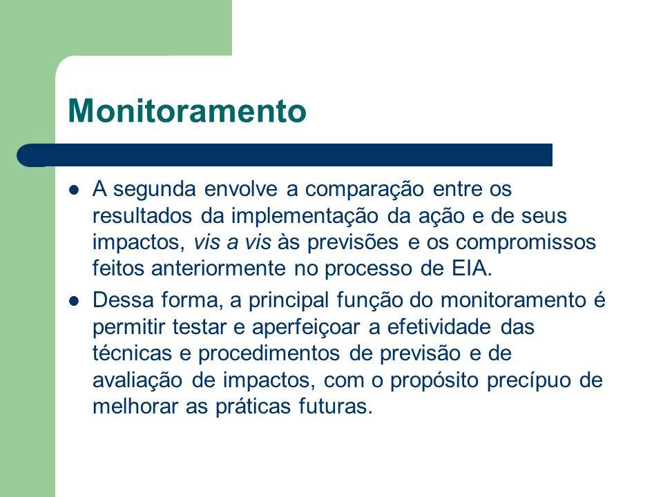 Monitoramento A segunda envolve a comparação entre os resultados da implementação da ação e de seus impactos, vis a vis às previsões e os compromissos feitos anteriormente no processo de EIA.