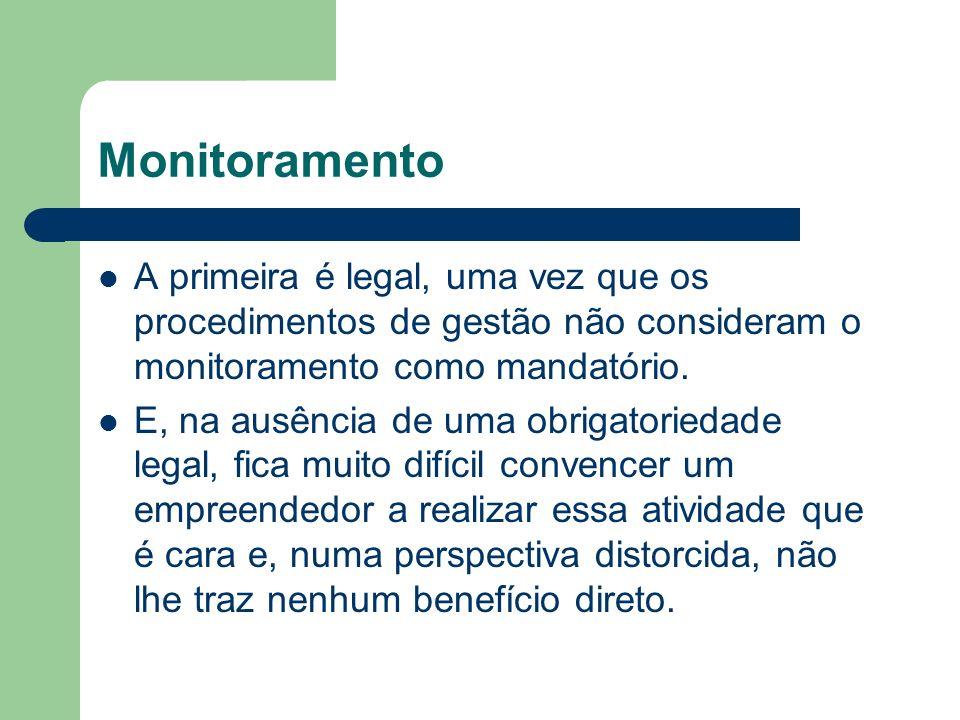 Monitoramento A primeira é legal, uma vez que os procedimentos de gestão não consideram o monitoramento como mandatório.