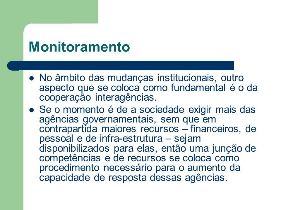 Monitoramento No âmbito das mudanças institucionais, outro aspecto que se coloca como fundamental é o da cooperação interagências.