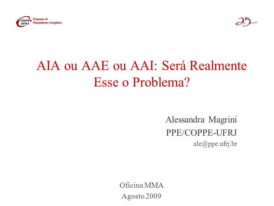 AIA ou AAE ou AAI: Será Realmente Esse o Problema? Alessandra Magrini PPE/COPPE-UFRJ ale@ppe.ufrj.br Oficina MMA Agosto 2009