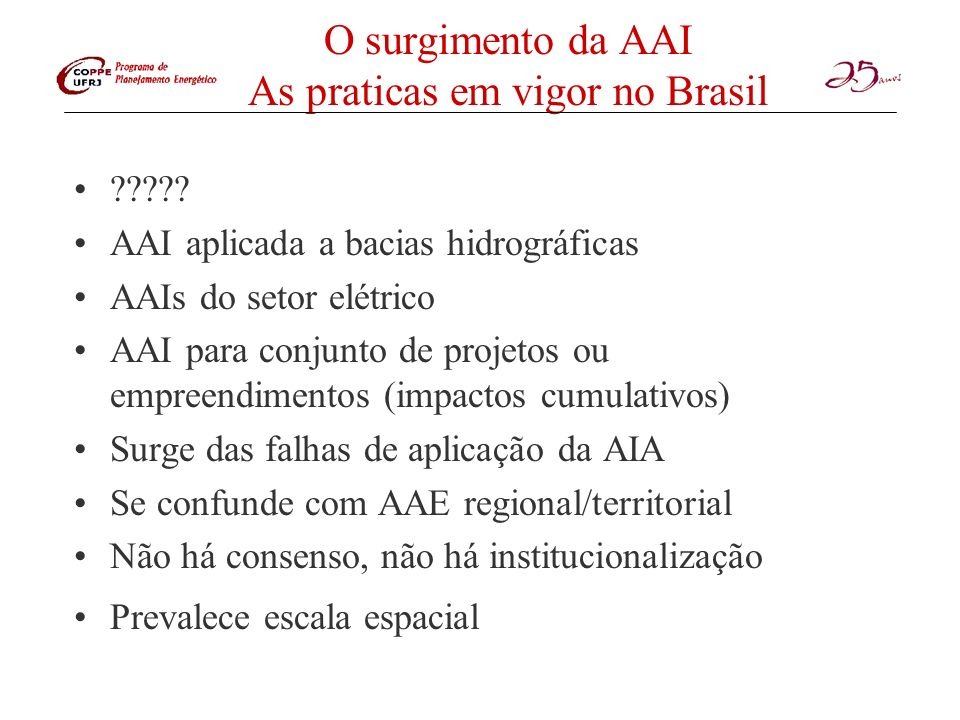 O surgimento da AAI As praticas em vigor no Brasil ????? AAI aplicada a bacias hidrográficas AAIs do setor elétrico AAI para conjunto de projetos ou e