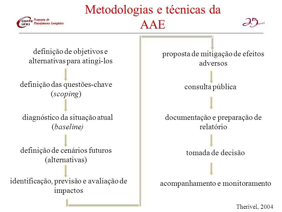 Metodologias e técnicas da AAE definição de objetivos e alternativas para atingi-los definição das questões-chave (scoping) diagnóstico da situação at