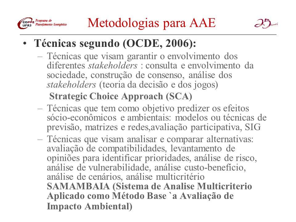 Metodologias para AAE Técnicas segundo (OCDE, 2006): –Técnicas que visam garantir o envolvimento dos diferentes stakeholders : consulta e envolvimento