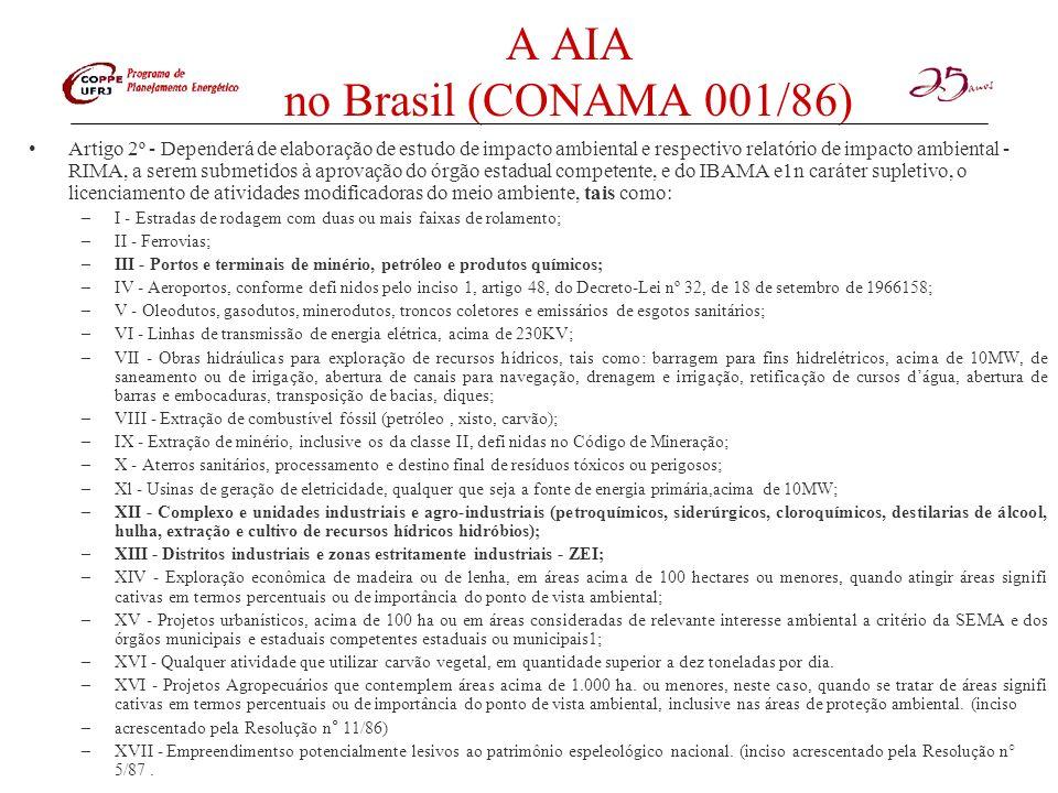 A AIA no Brasil (CONAMA 001/86) Artigo 2º - Dependerá de elaboração de estudo de impacto ambiental e respectivo relatório de impacto ambiental - RIMA,