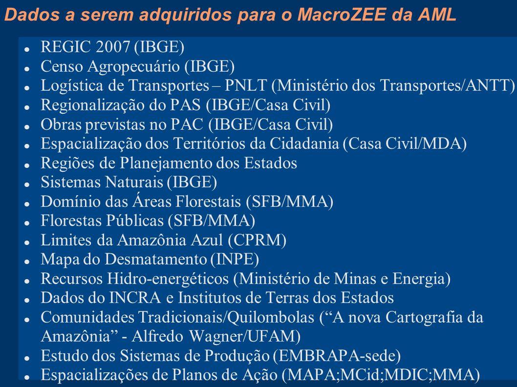 Dados a serem adquiridos para o MacroZEE da AML Contexto estadual Dados atualizados dos ZEEs Estaduais (produzidos e insumos) Qual a importância.