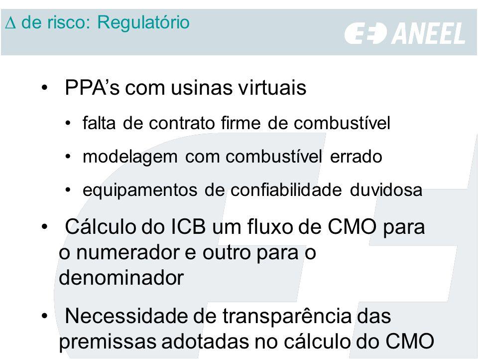 PPAs com usinas virtuais falta de contrato firme de combustível modelagem com combustível errado equipamentos de confiabilidade duvidosa Cálculo do ICB um fluxo de CMO para o numerador e outro para o denominador Necessidade de transparência das premissas adotadas no cálculo do CMO