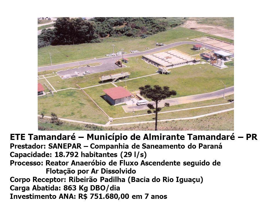 ETE Tamandaré – Município de Almirante Tamandaré – PR Prestador: SANEPAR – Companhia de Saneamento do Paraná Capacidade: 18.792 habitantes (29 l/s) Pr