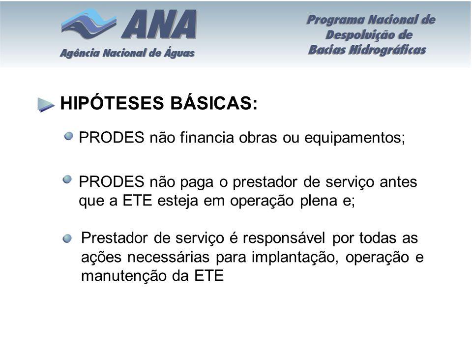 HIPÓTESES BÁSICAS: PRODES não financia obras ou equipamentos; PRODES não paga o prestador de serviço antes que a ETE esteja em operação plena e; Prest