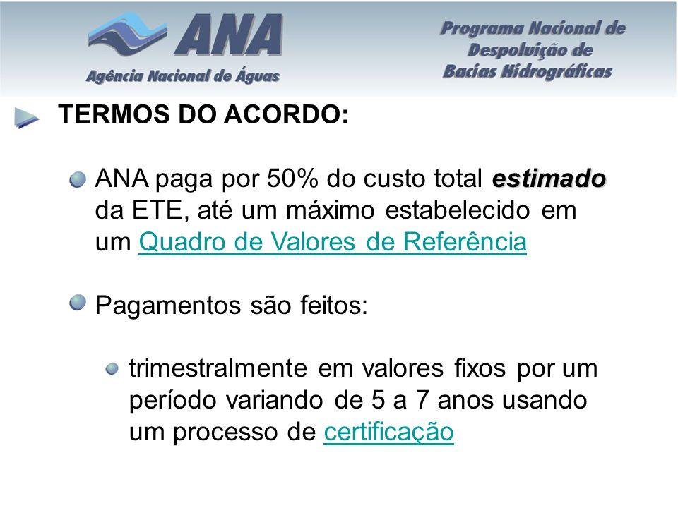 TERMOS DO ACORDO: estimado ANA paga por 50% do custo total estimado da ETE, até um máximo estabelecido em um Quadro de Valores de ReferênciaQuadro de