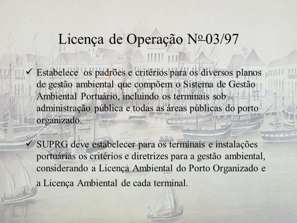 Licença de Operação N o 03/97 Estabelece os padrões e critérios para os diversos planos de gestão ambiental que compõem o Sistema de Gestão Ambiental