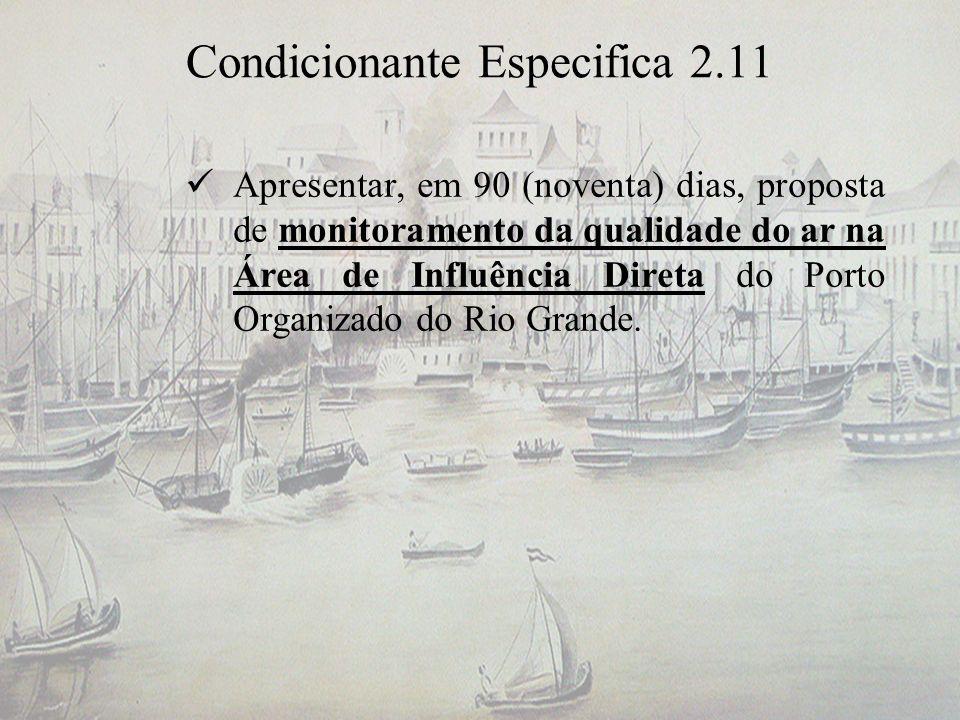 Condicionante Especifica 2.11 Apresentar, em 90 (noventa) dias, proposta de monitoramento da qualidade do ar na Área de Influência Direta do Porto Org