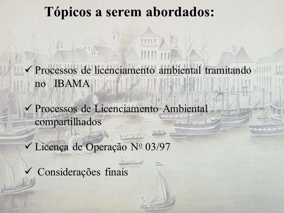 Tópicos a serem abordados: Processos de licenciamento ambiental tramitando no IBAMA Processos de Licenciamento Ambiental compartilhados Licença de Ope