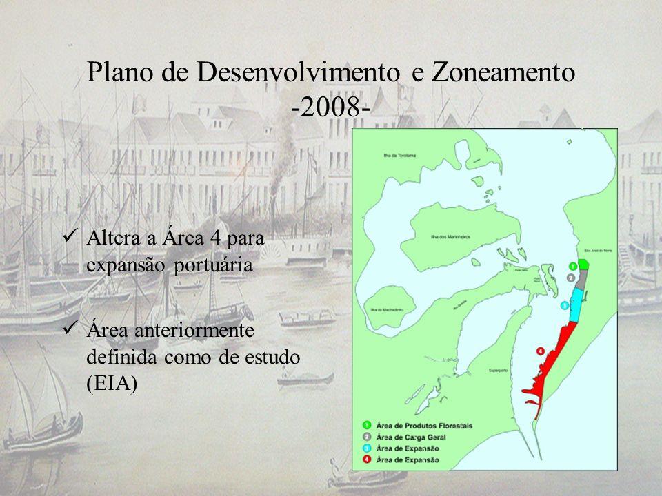 Plano de Desenvolvimento e Zoneamento -2008- Altera a Área 4 para expansão portuária Área anteriormente definida como de estudo (EIA)
