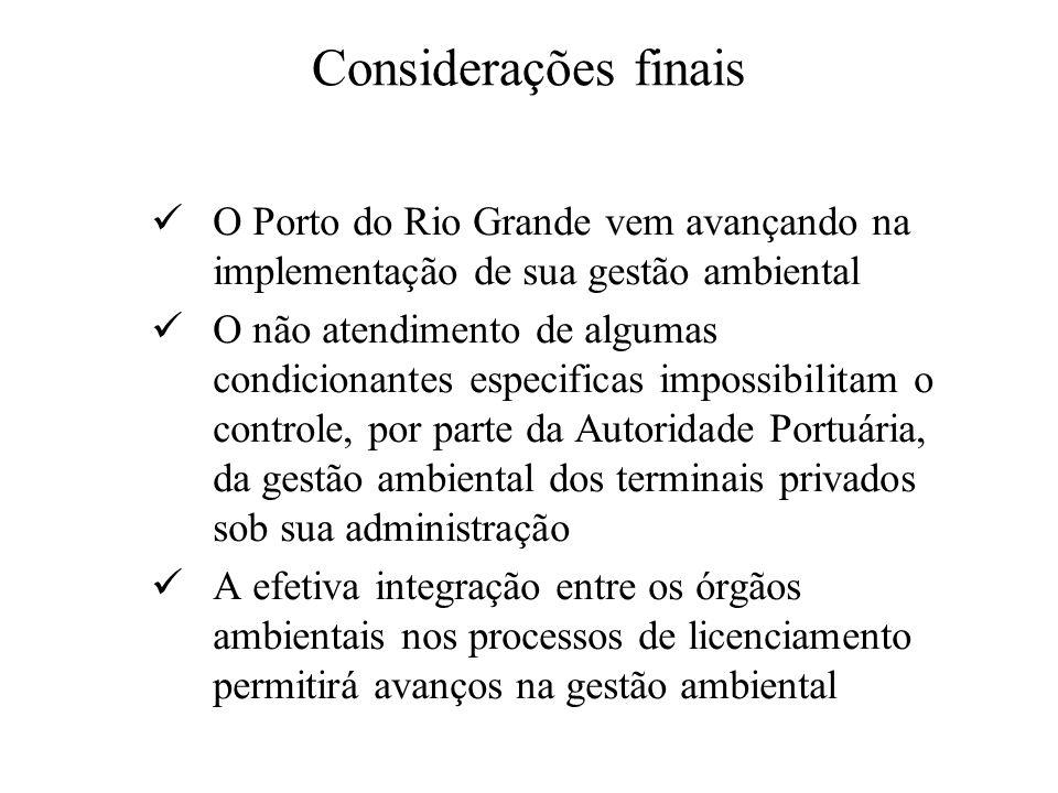 Considerações finais O Porto do Rio Grande vem avançando na implementação de sua gestão ambiental O não atendimento de algumas condicionantes especifi