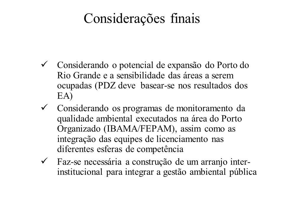 Considerações finais Considerando o potencial de expansão do Porto do Rio Grande e a sensibilidade das áreas a serem ocupadas (PDZ deve basear-se nos