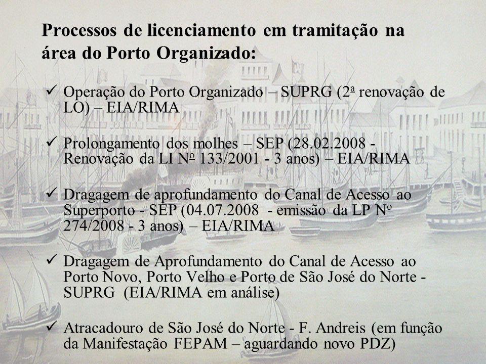 Processos de licenciamento em tramitação na área do Porto Organizado: Operação do Porto Organizado – SUPRG (2 a renovação de LO) – EIA/RIMA Prolongame