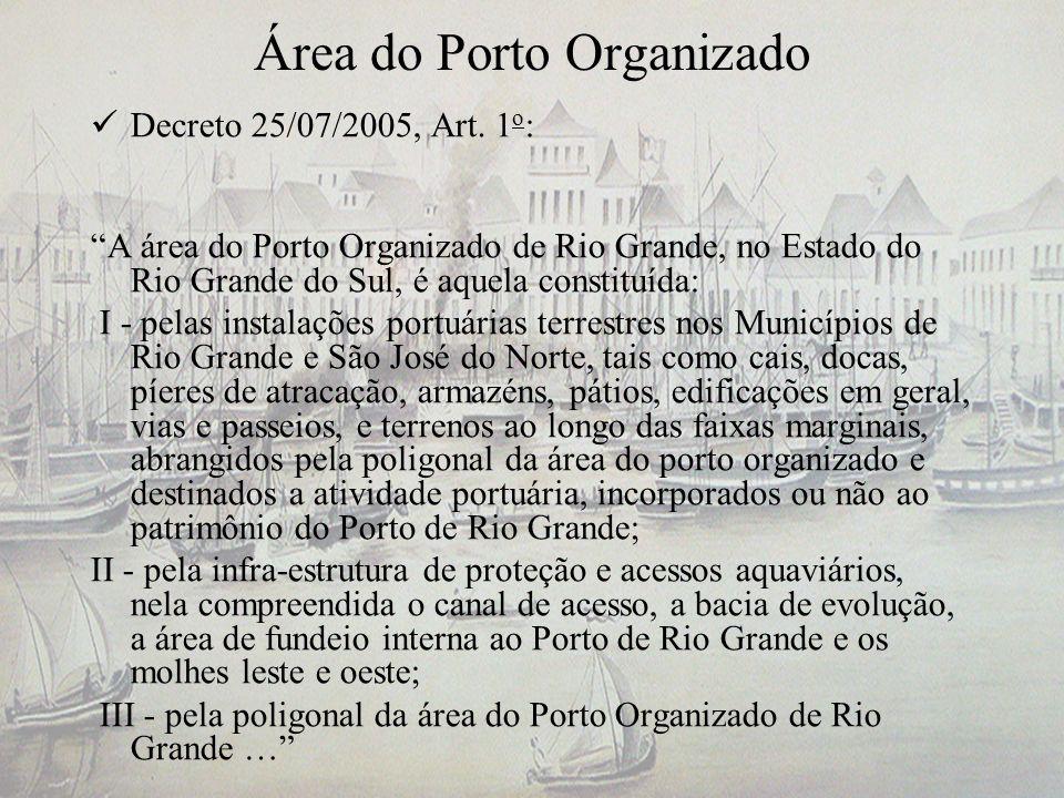 Área do Porto Organizado Decreto 25/07/2005, Art. 1 o : A área do Porto Organizado de Rio Grande, no Estado do Rio Grande do Sul, é aquela constituída