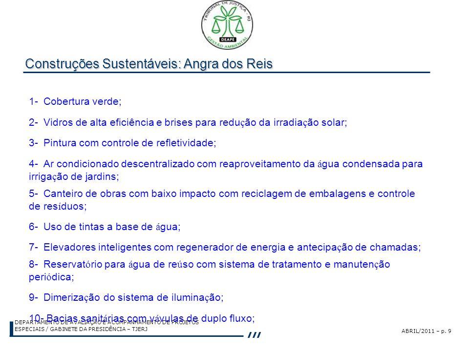 ABRIL/2011 – p. 9 DEPARTAMENTO DE AVALIAÇÃO E ACOMPANHAMENTO DE PROJETOS ESPECIAIS / GABINETE DA PRESIDÊNCIA – TJERJ Construções Sustentáveis: Angra d