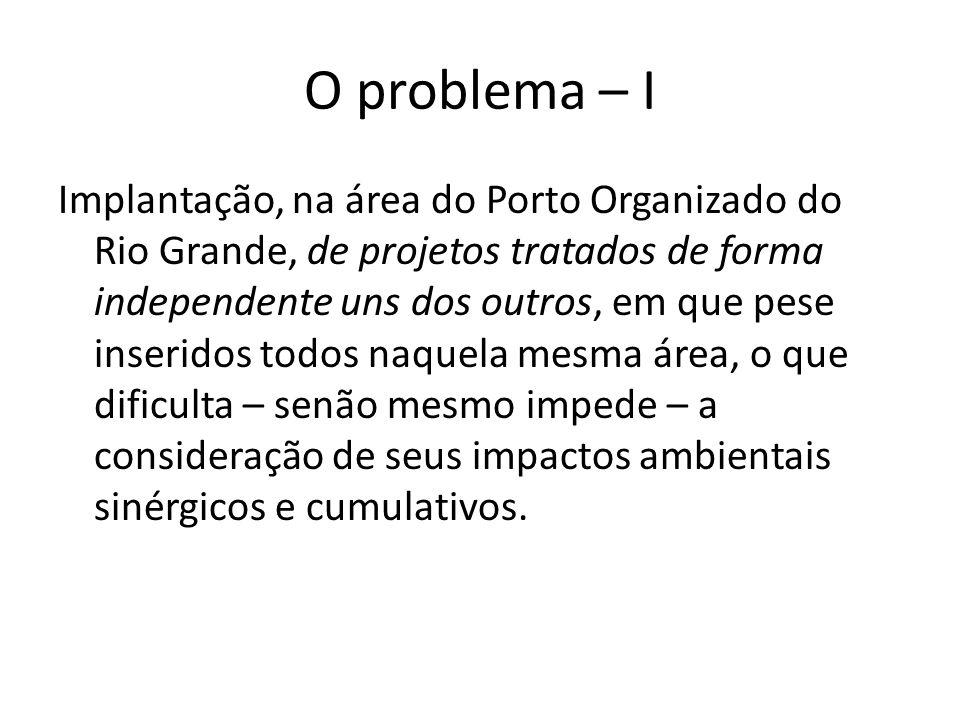 O problema – I Implantação, na área do Porto Organizado do Rio Grande, de projetos tratados de forma independente uns dos outros, em que pese inserido