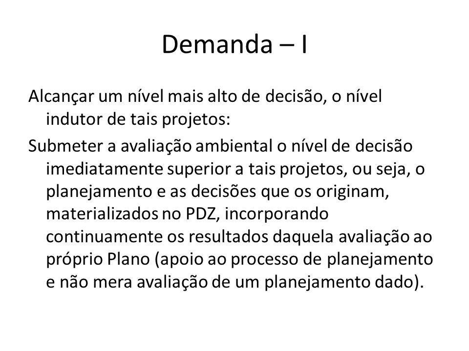Demanda – II Processo de avaliação ambiental destinado a atuar sobre a concepção e elaboração do PDZ ao longo do tempo.