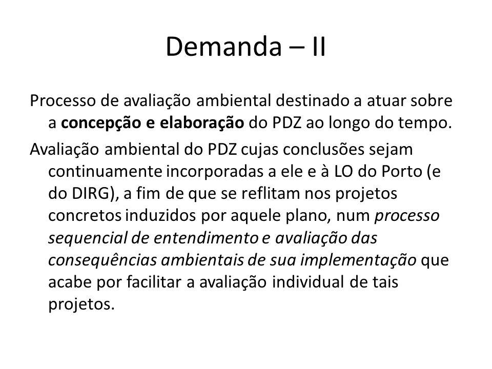 Demanda – II Processo de avaliação ambiental destinado a atuar sobre a concepção e elaboração do PDZ ao longo do tempo. Avaliação ambiental do PDZ cuj