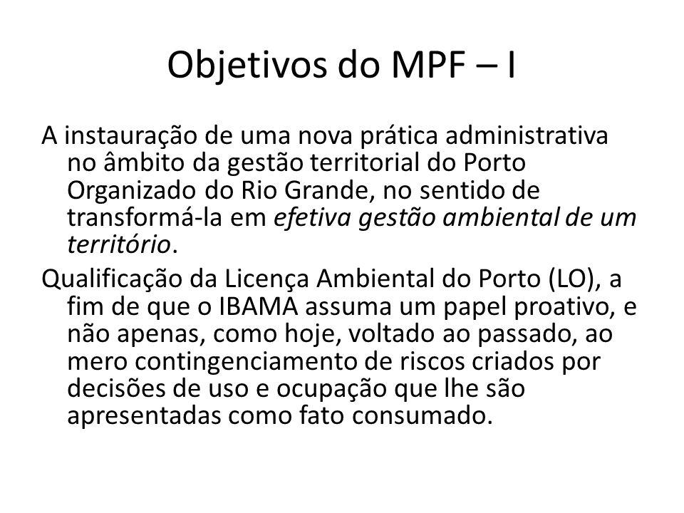 Objetivos do MPF – II Oportunidade de qualificar, também, a Licença Ambiental do Distrito Industrial de Rio Grande (contíguo ao Superporto), pois tampouco oferece diretrizes para regular e gerir a sua ocupação.
