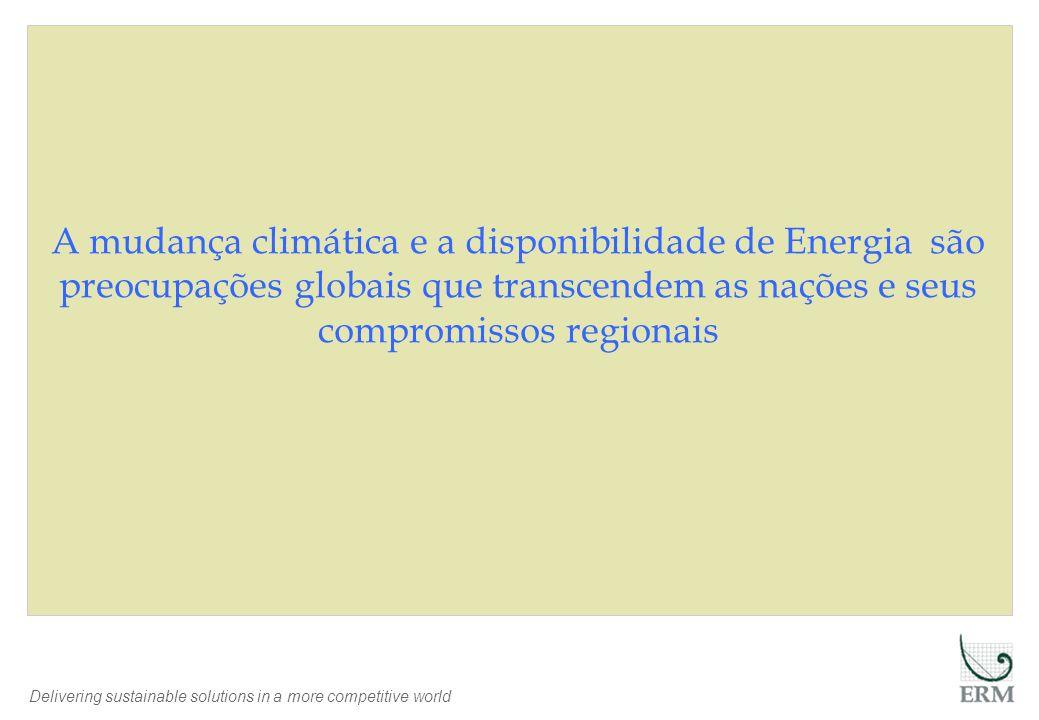 Delivering sustainable solutions in a more competitive world A mudança climática e a disponibilidade de Energia são preocupações globais que transcendem as nações e seus compromissos regionais