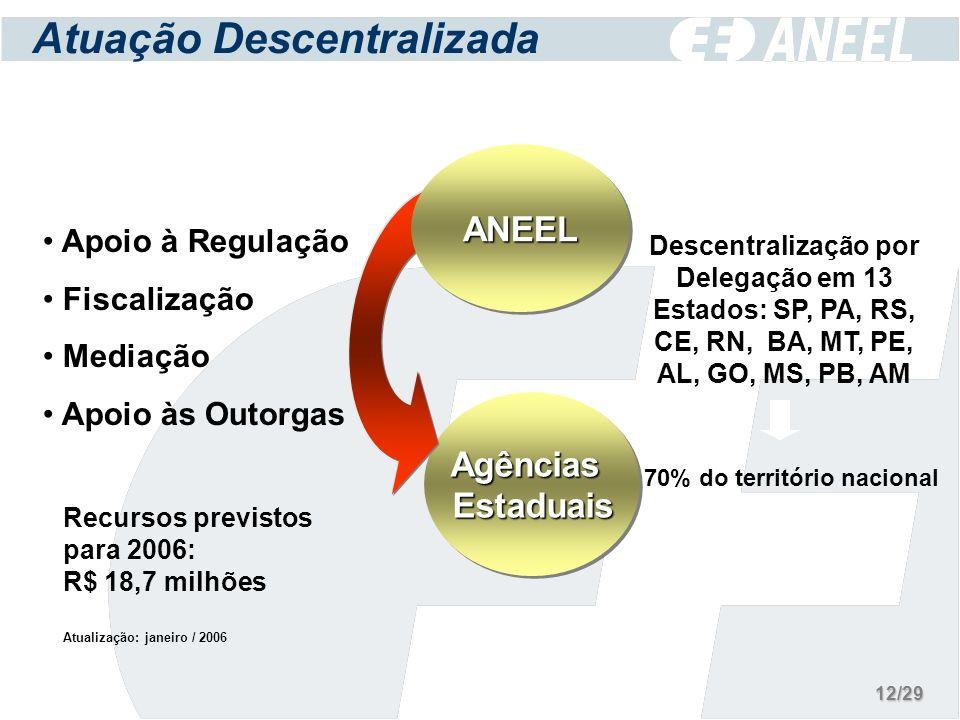 Atuação Descentralizada Apoio à Regulação Fiscalização Mediação Apoio às Outorgas Descentralização por Delegação em 13 Estados: SP, PA, RS, CE, RN, BA, MT, PE, AL, GO, MS, PB, AM AgênciasEstaduaisAgênciasEstaduais ANEELANEEL 70% do território nacional Recursos previstos para 2006: R$ 18,7 milhões Atualização: janeiro / 2006 12/29