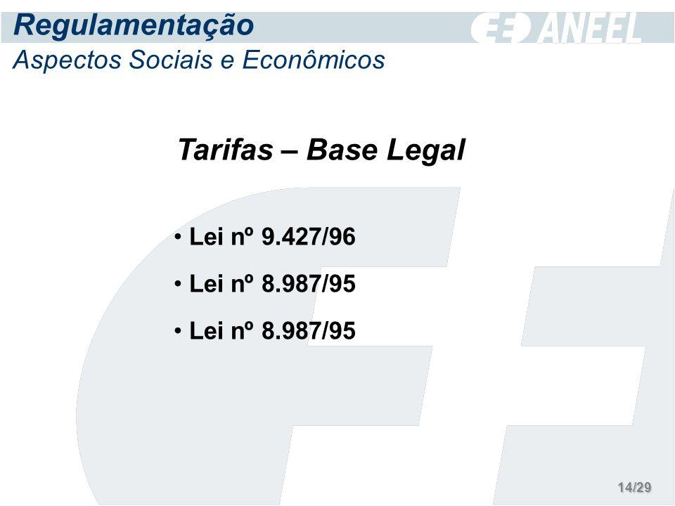 Tarifas – Base Legal Lei nº 9.427/96 Lei nº 8.987/95 Regulamentação Aspectos Sociais e Econômicos 14/29