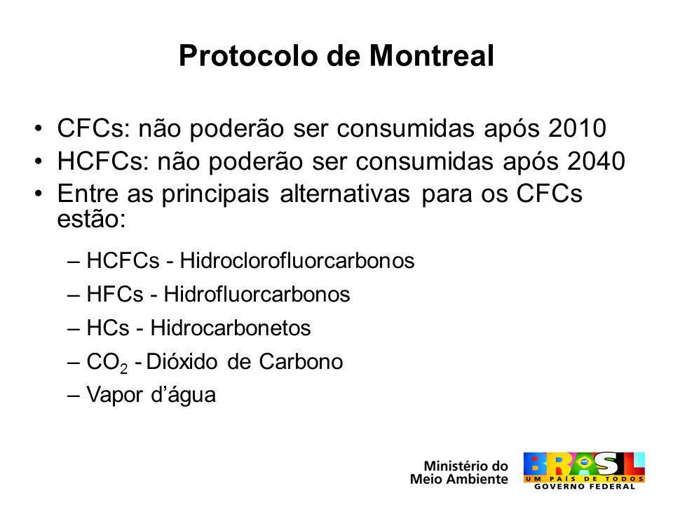 Protocolo de Montreal CFCs: não poderão ser consumidas após 2010 HCFCs: não poderão ser consumidas após 2040 Entre as principais alternativas para os CFCs estão: –HCFCs - Hidroclorofluorcarbonos –HFCs - Hidrofluorcarbonos –HCs - Hidrocarbonetos –CO 2 - Dióxido de Carbono –Vapor dágua
