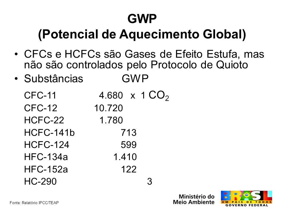 GWP (Potencial de Aquecimento Global) CFCs e HCFCs são Gases de Efeito Estufa, mas não são controlados pelo Protocolo de Quioto Substâncias GWP CFC-11 4.680 x 1 CO 2 CFC-1210.720 HCFC-22 1.780 HCFC-141b 713 HCFC-124 599 HFC-134a 1.410 HFC-152a 122 HC-290 3 Fonte: Relatório IPCC/TEAP