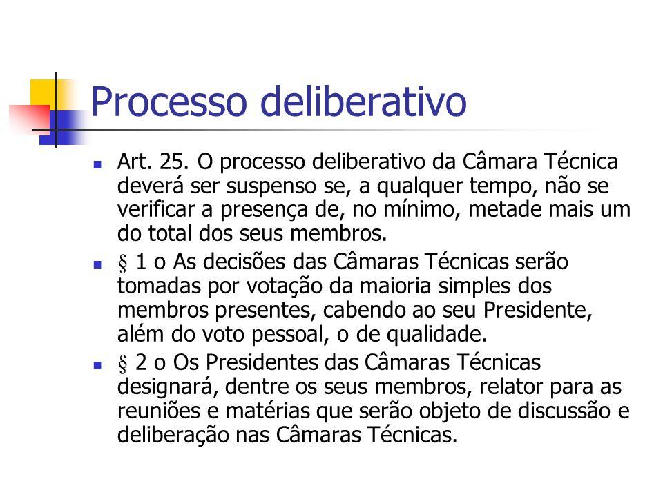 Processo deliberativo Art. 25.