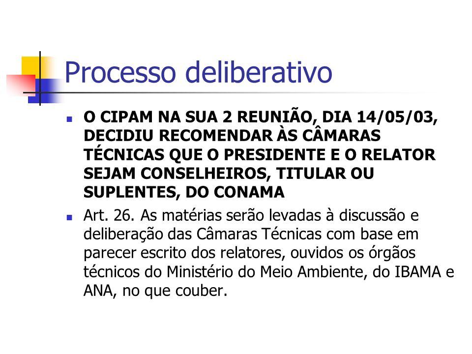 Processo deliberativo O CIPAM NA SUA 2 REUNIÃO, DIA 14/05/03, DECIDIU RECOMENDAR ÀS CÂMARAS TÉCNICAS QUE O PRESIDENTE E O RELATOR SEJAM CONSELHEIROS, TITULAR OU SUPLENTES, DO CONAMA Art.