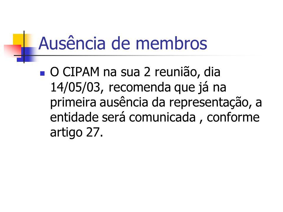 Ausência de membros O CIPAM na sua 2 reunião, dia 14/05/03, recomenda que já na primeira ausência da representação, a entidade será comunicada, conforme artigo 27.
