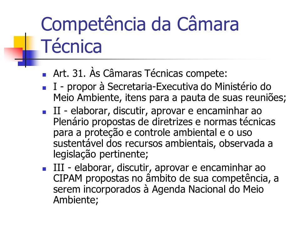Competência da Câmara Técnica Art. 31.