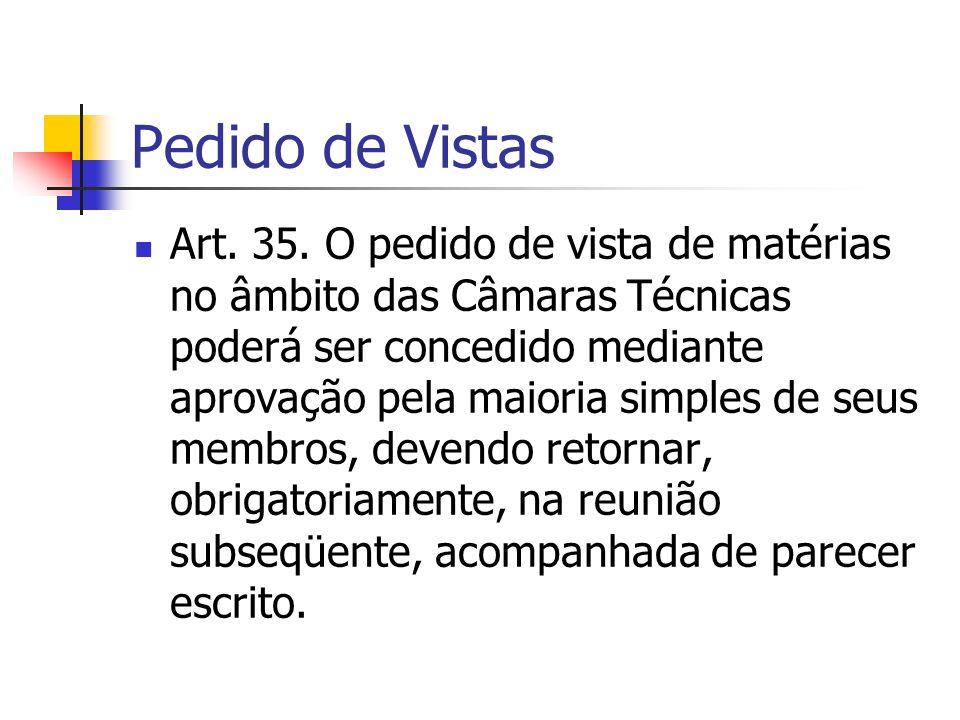 Pedido de Vistas Art. 35.