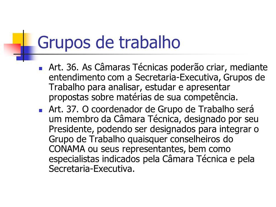 Grupos de trabalho Art. 36.