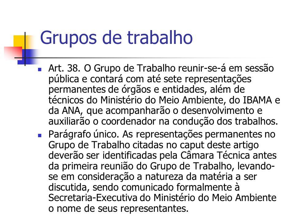 Grupos de trabalho Art. 38.