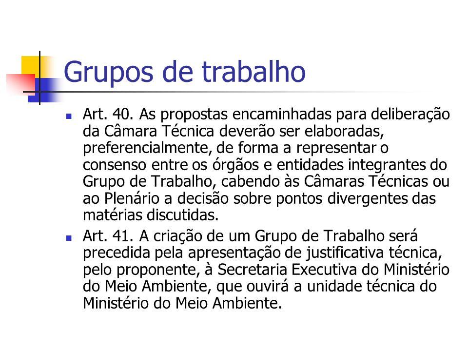 Grupos de trabalho Art. 40.