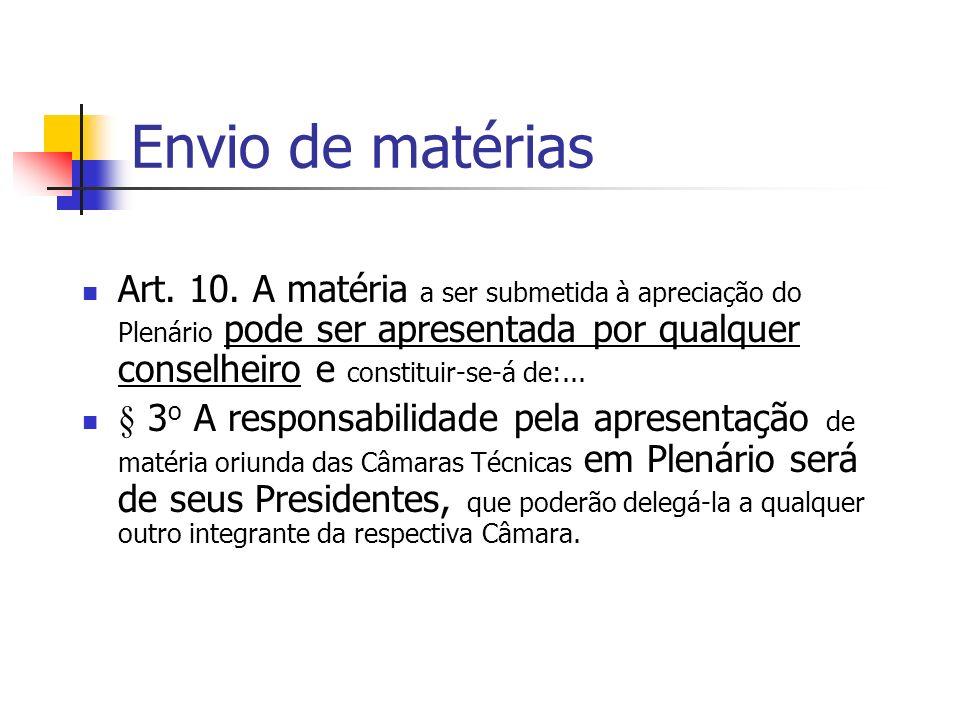 Envio de matérias Art. 10.