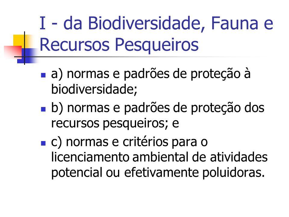I - da Biodiversidade, Fauna e Recursos Pesqueiros a) normas e padrões de proteção à biodiversidade; b) normas e padrões de proteção dos recursos pesqueiros; e c) normas e critérios para o licenciamento ambiental de atividades potencial ou efetivamente poluidoras.