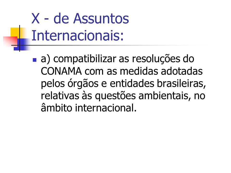 X - de Assuntos Internacionais: a) compatibilizar as resoluções do CONAMA com as medidas adotadas pelos órgãos e entidades brasileiras, relativas às questões ambientais, no âmbito internacional.