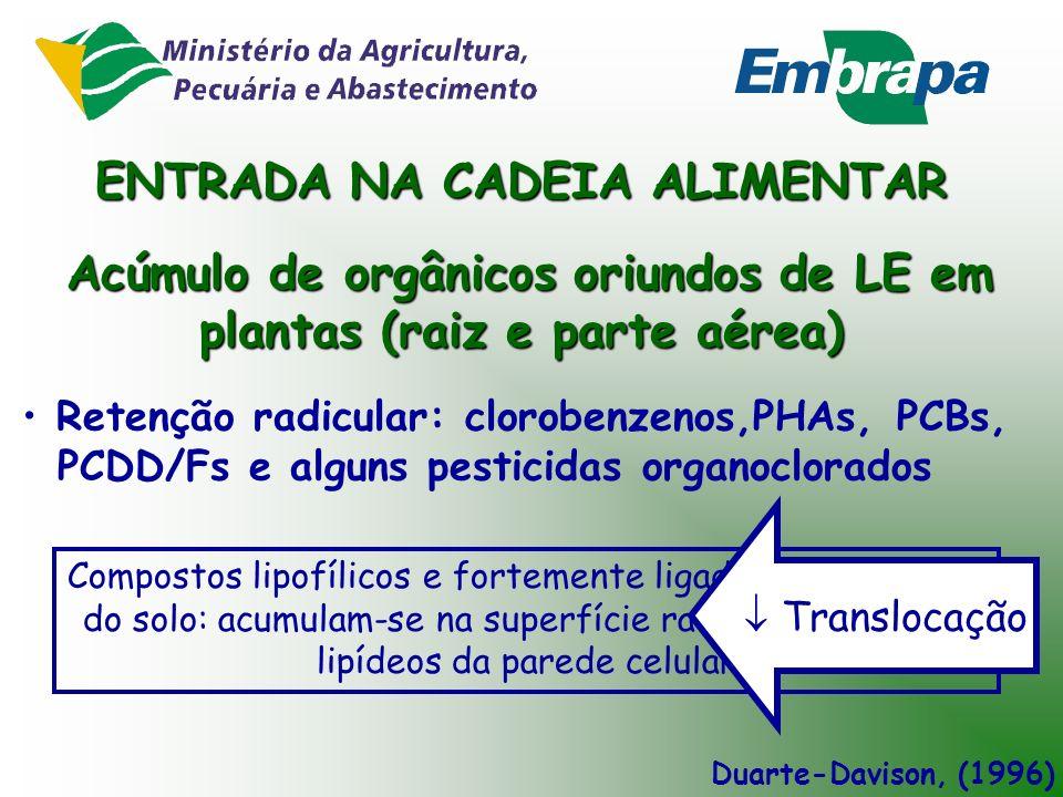 - COPs se concentram no LE durante o tratamento: 90% removido do esgoto - COPs são fortemente adsorvidos à matéria orgânica do LE Exceção: COPs com ma