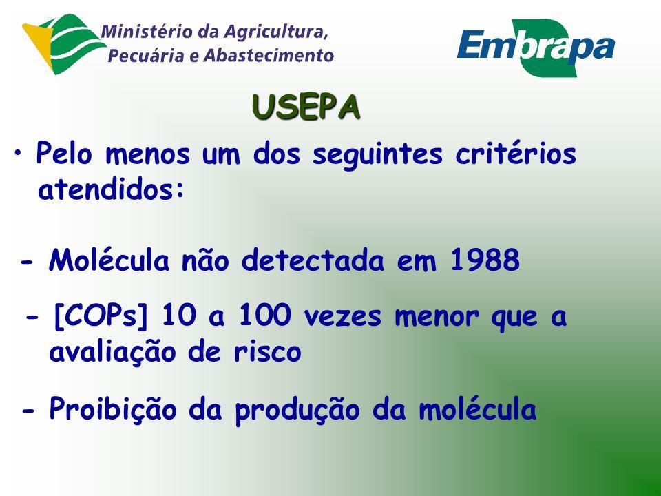 USEPA Considerações para avaliação de risco: - Absorção de COPs pela planta: linear - Dose de risco usada como referência Eliminação de COPs da norma