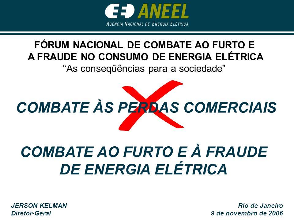 JERSON KELMAN Diretor-Geral Rio de Janeiro 9 de novembro de 2006 COMBATE AO FURTO E À FRAUDE DE ENERGIA ELÉTRICA COMBATE ÀS PERDAS COMERCIAIS FÓRUM NA